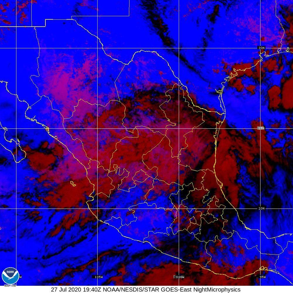 Nighttime Microphysics - RGB used to distinguish clouds from fog - 27 Jul 2020 - 1940 UTC