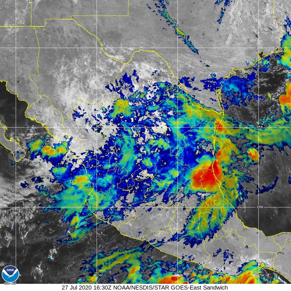 Sandwich - Multi-spectral blend combines IR band 13 with visual band 3 - 27 Jul 2020 - 1630 UTC