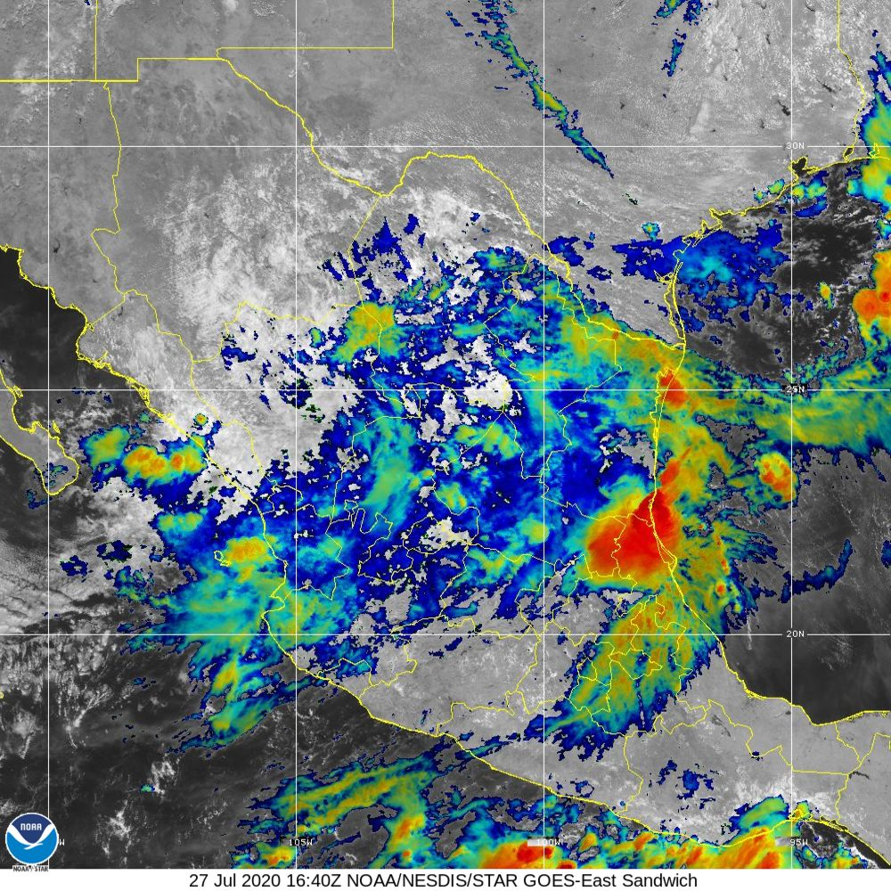 Sandwich - Multi-spectral blend combines IR band 13 with visual band 3 - 27 Jul 2020 - 1640 UTC