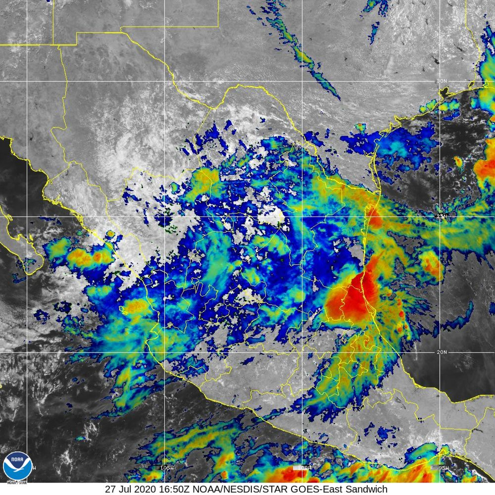 Sandwich - Multi-spectral blend combines IR band 13 with visual band 3 - 27 Jul 2020 - 1650 UTC
