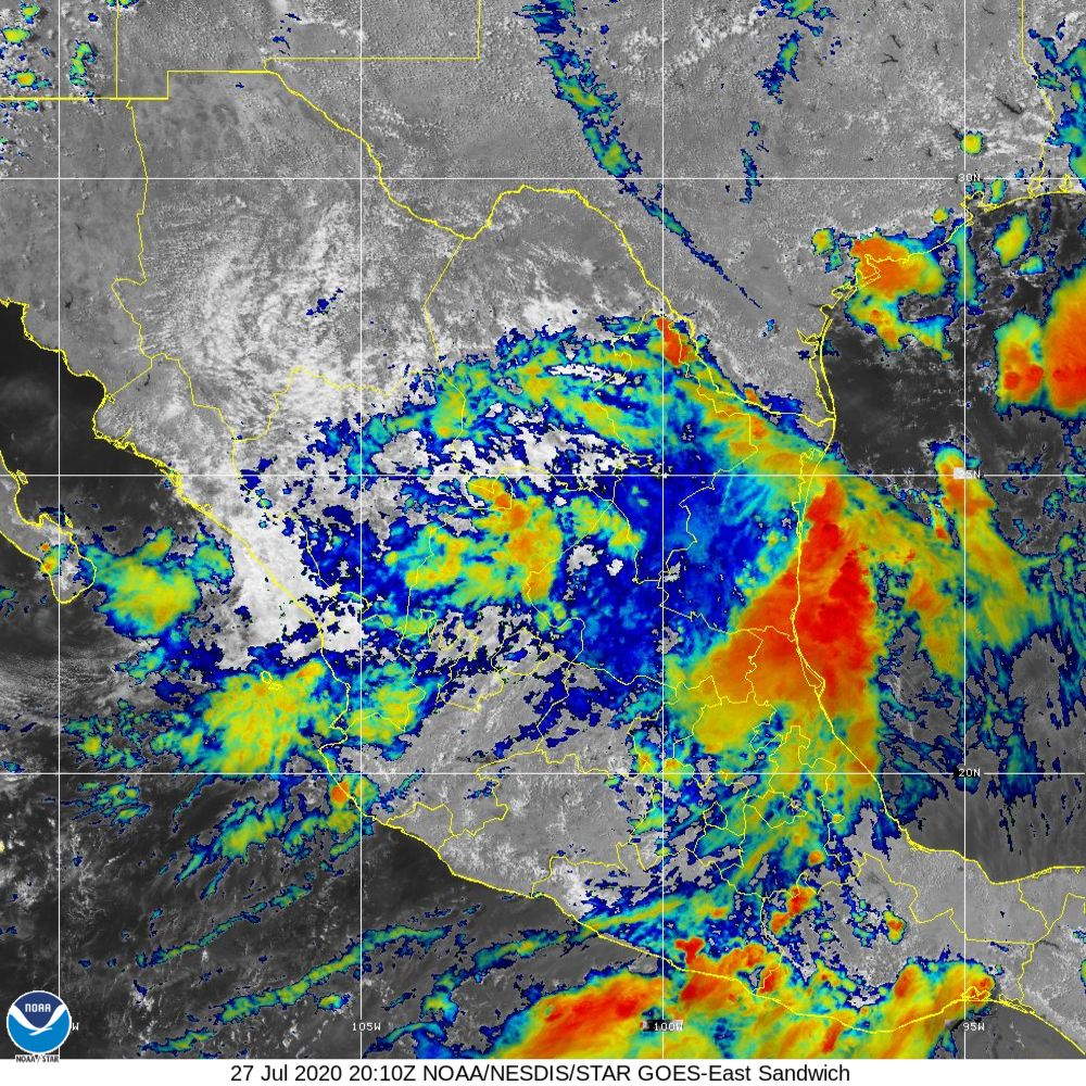 Sandwich - Multi-spectral blend combines IR band 13 with visual band 3 - 27 Jul 2020 - 2010 UTC