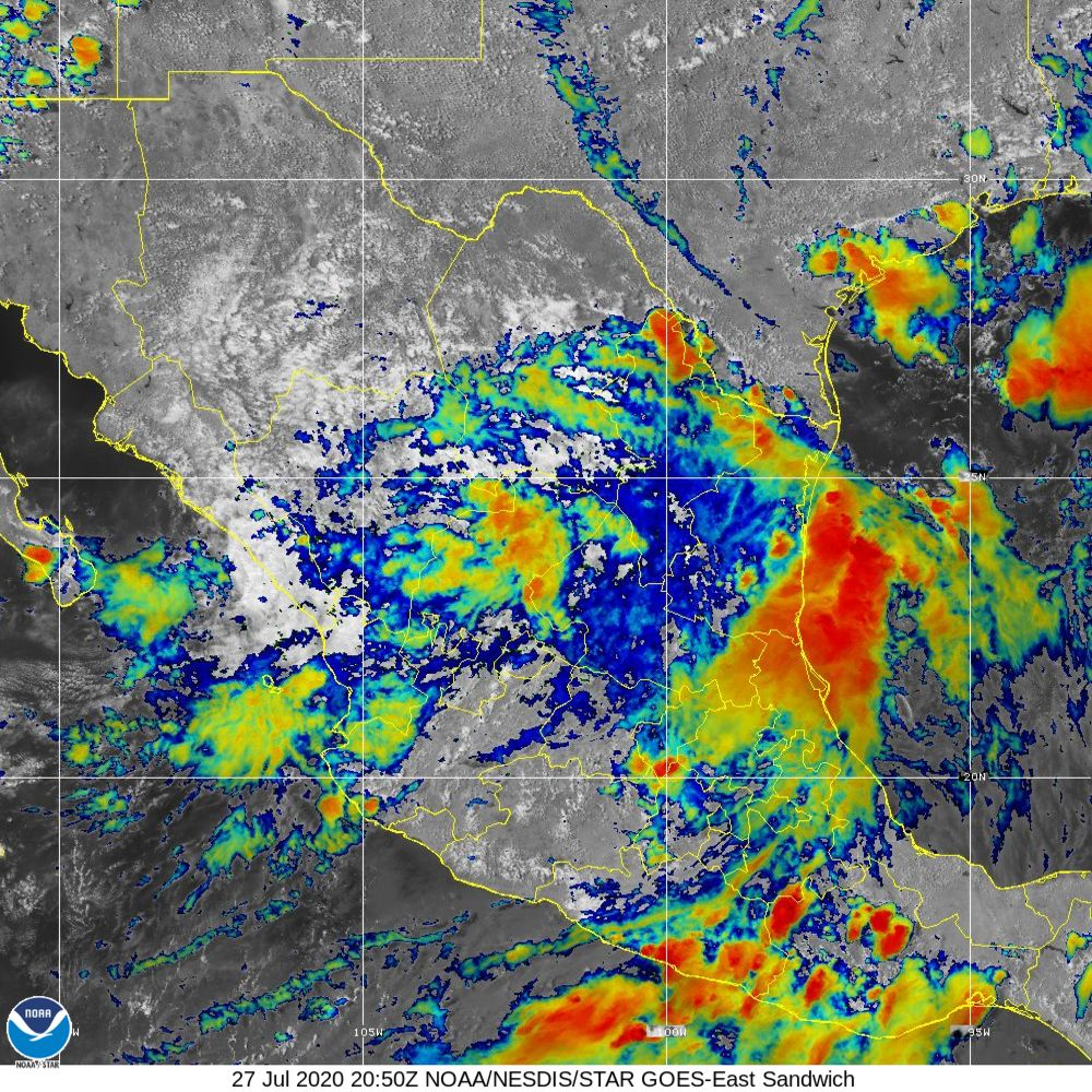Sandwich - Multi-spectral blend combines IR band 13 with visual band 3 - 27 Jul 2020 - 2050 UTC