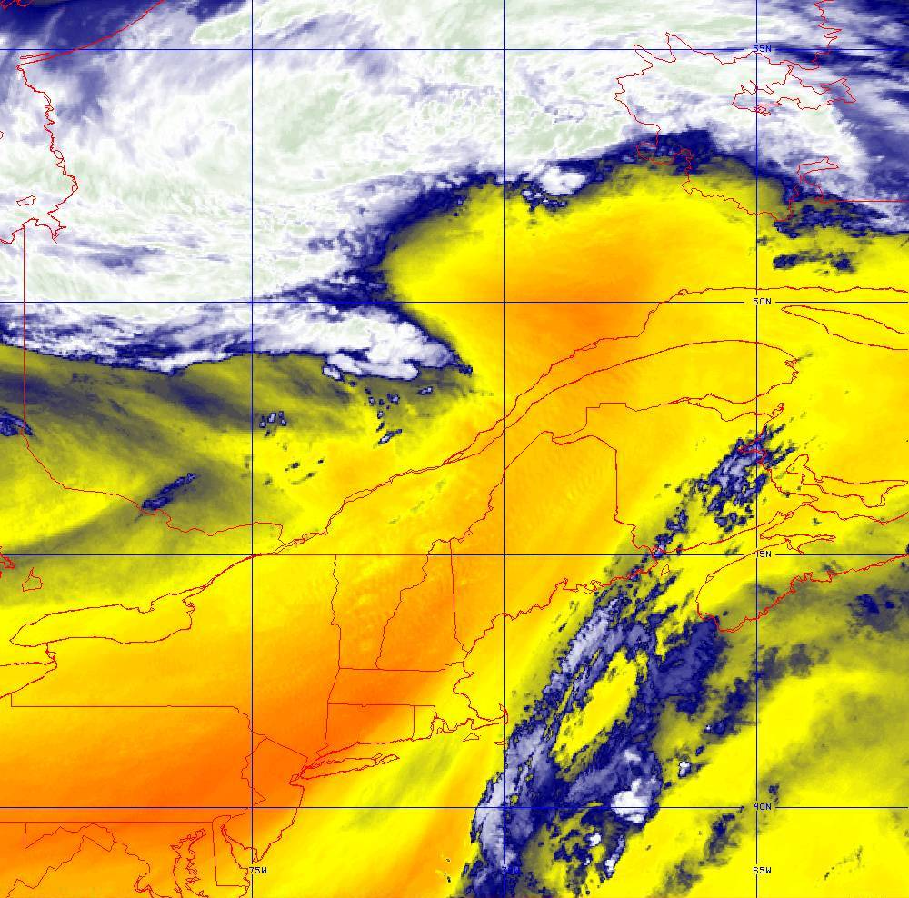 Band 10 - 7.3 µm - Lower-level Water Vapor - IR - 05 Aug 2020 - 1610 UTC