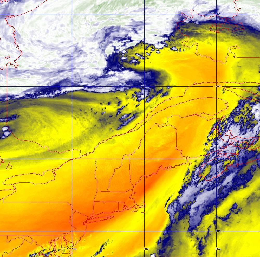 Band 10 - 7.3 µm - Lower-level Water Vapor - IR - 05 Aug 2020 - 1950 UTC
