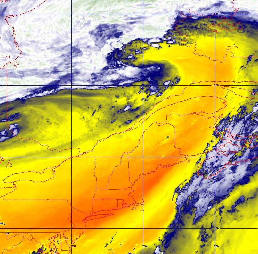 Band 10 - 7.3 µm - Lower-level Water Vapor - IR - 05 Aug 2020 - 2040 UTC