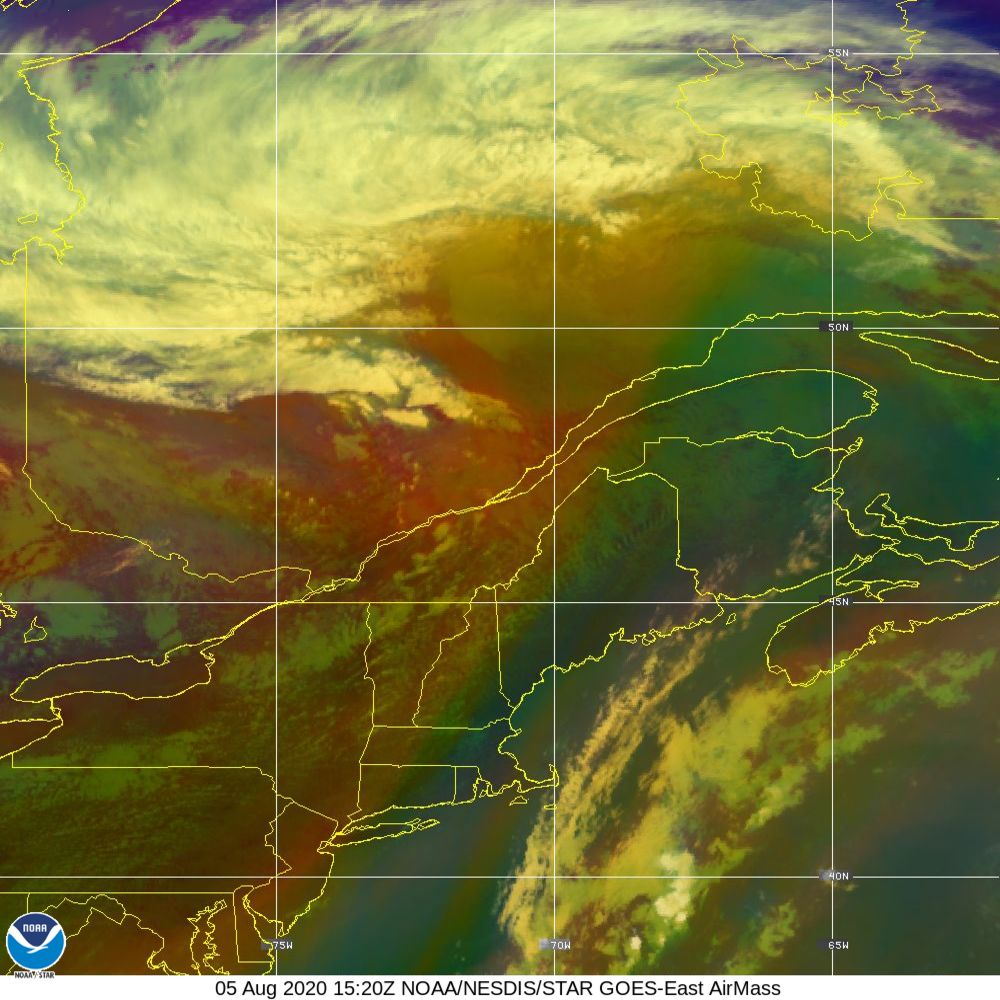 Air Mass - RGB composite based on the data from IR and WV - 05 Aug 2020 - 1520 UTC