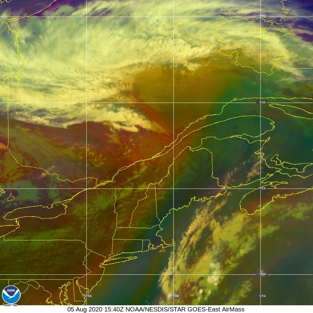 Air Mass - RGB composite based on the data from IR and WV - 05 Aug 2020 - 1540 UTC