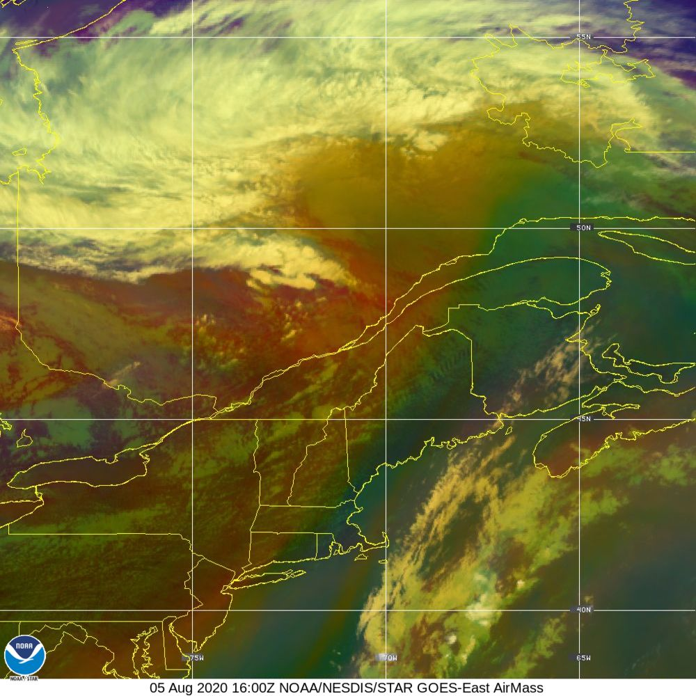 Air Mass - RGB composite based on the data from IR and WV - 05 Aug 2020 - 1600 UTC