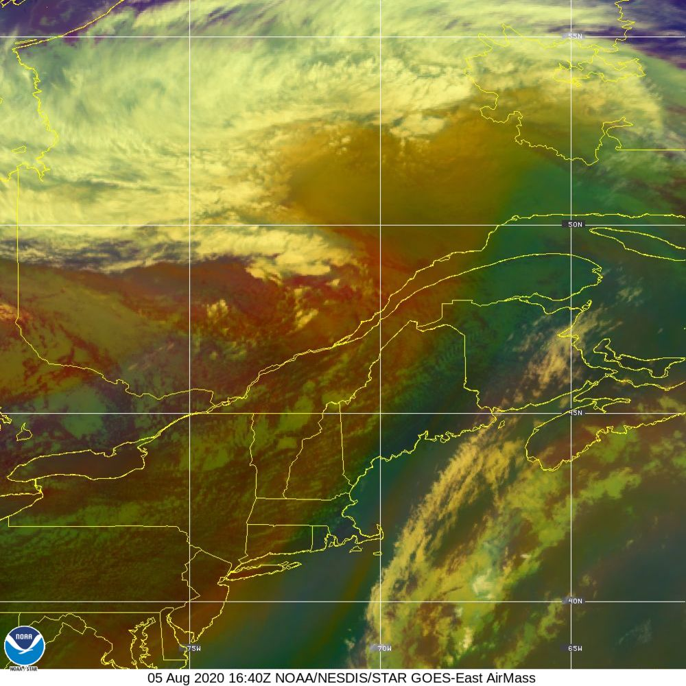 Air Mass - RGB composite based on the data from IR and WV - 05 Aug 2020 - 1640 UTC