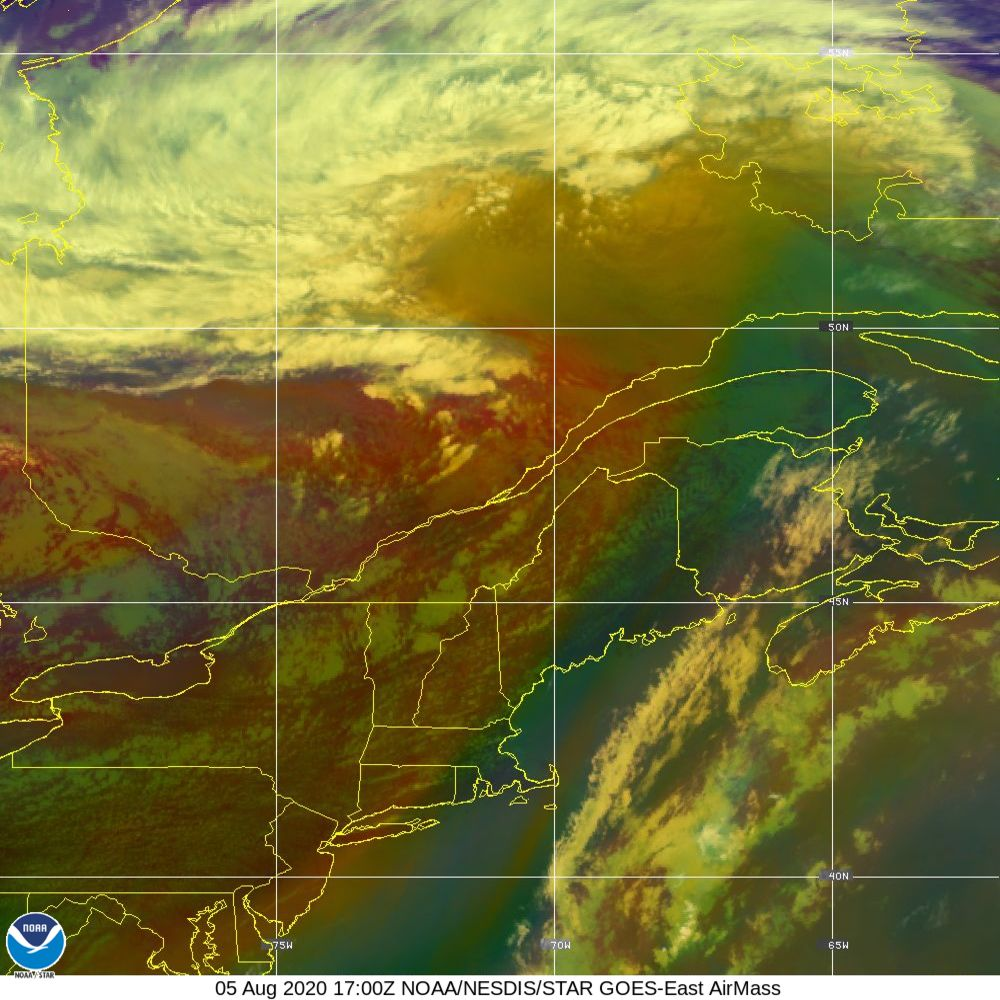 Air Mass - RGB composite based on the data from IR and WV - 05 Aug 2020 - 1700 UTC