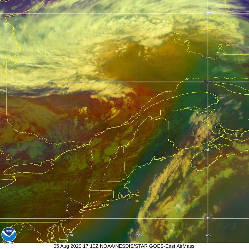 Air Mass - RGB composite based on the data from IR and WV - 05 Aug 2020 - 1710 UTC