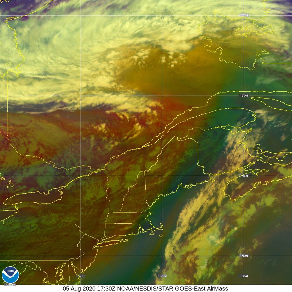 Air Mass - RGB composite based on the data from IR and WV - 05 Aug 2020 - 1730 UTC