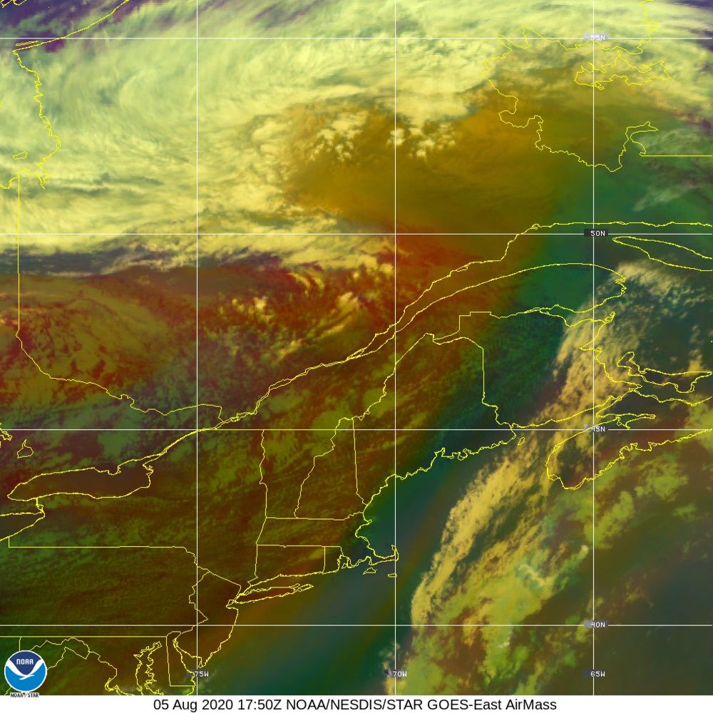Air Mass - RGB composite based on the data from IR and WV - 05 Aug 2020 - 1750 UTC