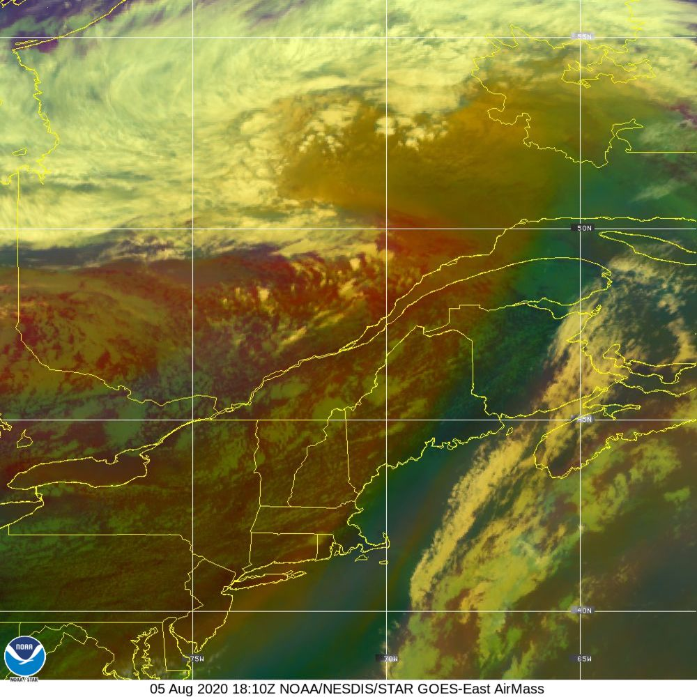 Air Mass - RGB composite based on the data from IR and WV - 05 Aug 2020 - 1810 UTC