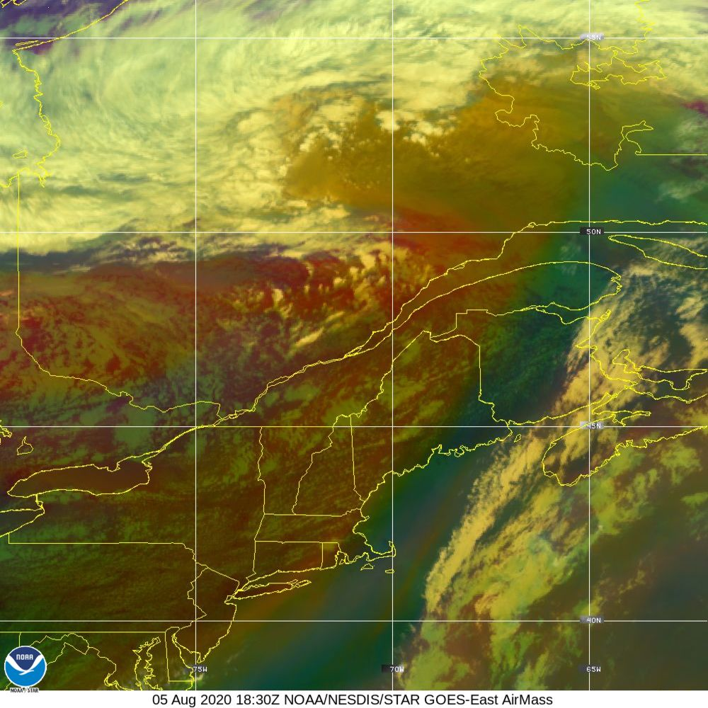 Air Mass - RGB composite based on the data from IR and WV - 05 Aug 2020 - 1830 UTC