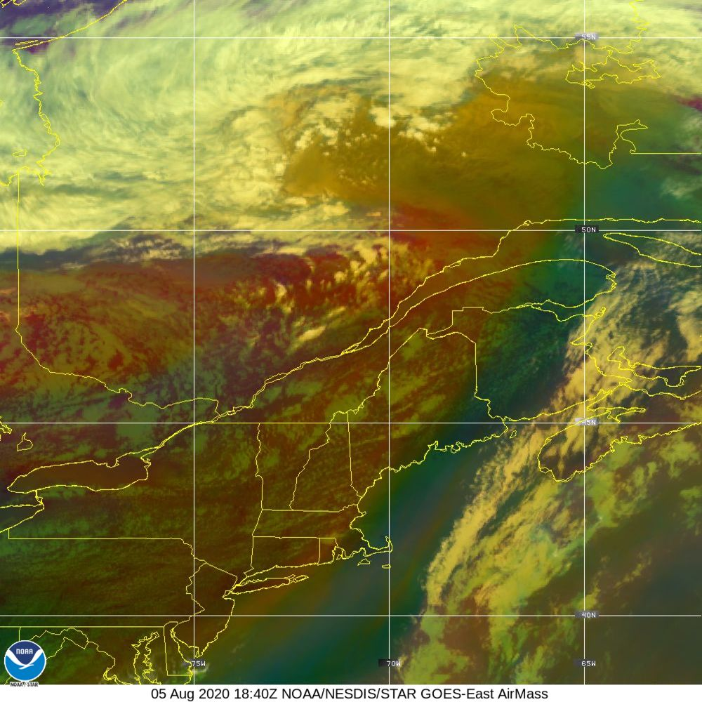 Air Mass - RGB composite based on the data from IR and WV - 05 Aug 2020 - 1840 UTC