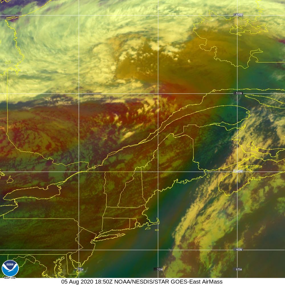 Air Mass - RGB composite based on the data from IR and WV - 05 Aug 2020 - 1850 UTC