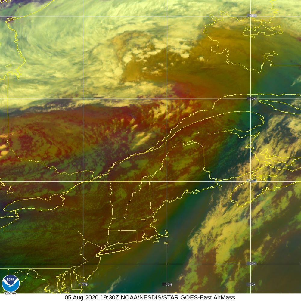 Air Mass - RGB composite based on the data from IR and WV - 05 Aug 2020 - 1930 UTC