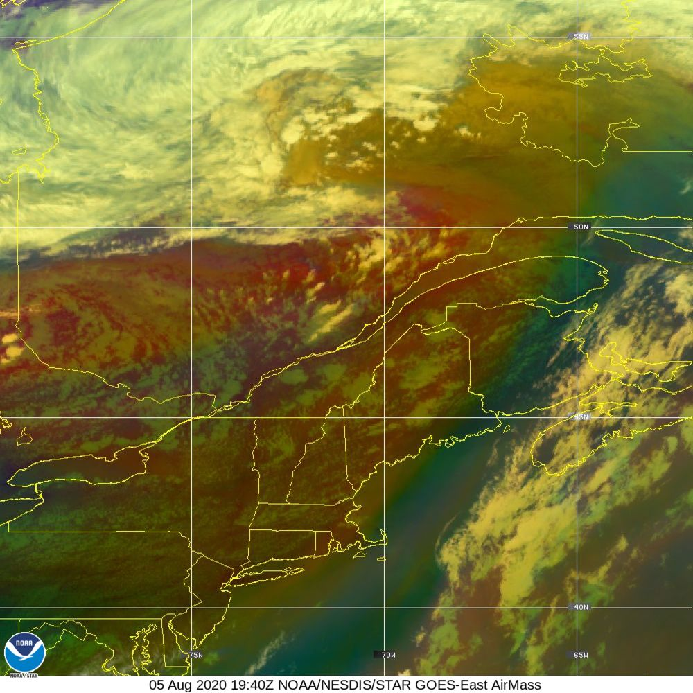 Air Mass - RGB composite based on the data from IR and WV - 05 Aug 2020 - 1940 UTC