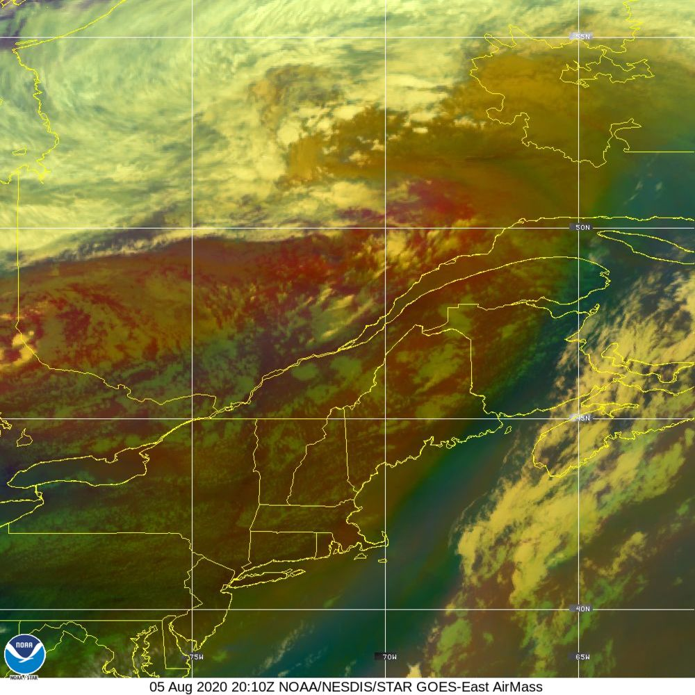 Air Mass - RGB composite based on the data from IR and WV - 05 Aug 2020 - 2010 UTC