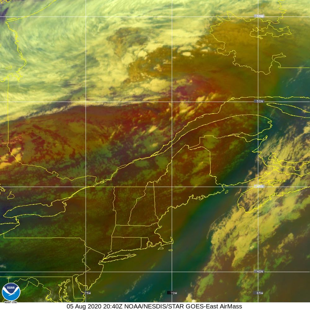 Air Mass - RGB composite based on the data from IR and WV - 05 Aug 2020 - 2040 UTC