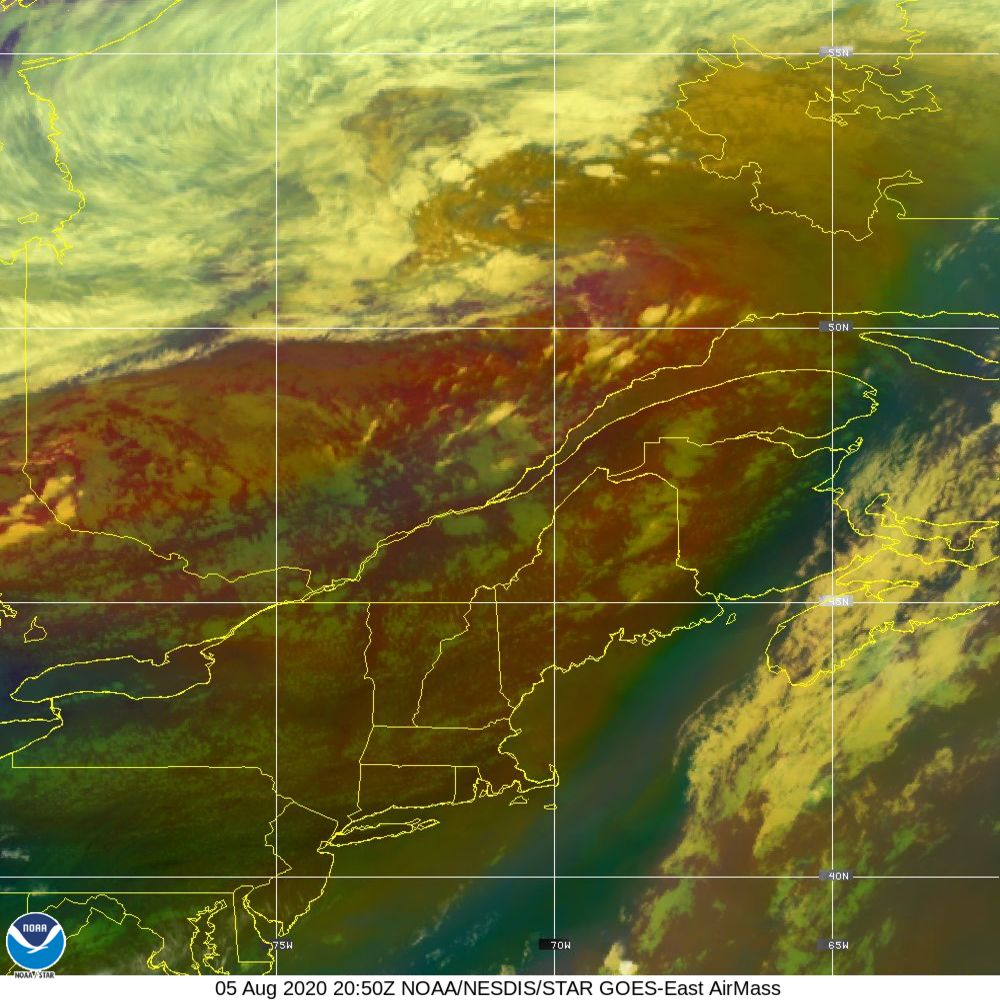Air Mass - RGB composite based on the data from IR and WV - 05 Aug 2020 - 2050 UTC