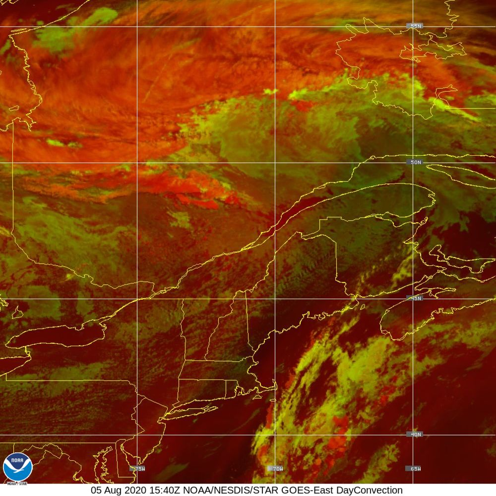 Day Convection - RGB used to identify areas of rapid intensification - 05 Aug 2020 - 1540 UTC