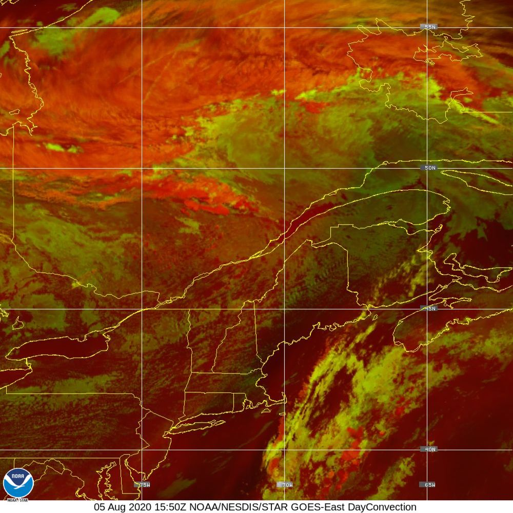 Day Convection - RGB used to identify areas of rapid intensification - 05 Aug 2020 - 1550 UTC