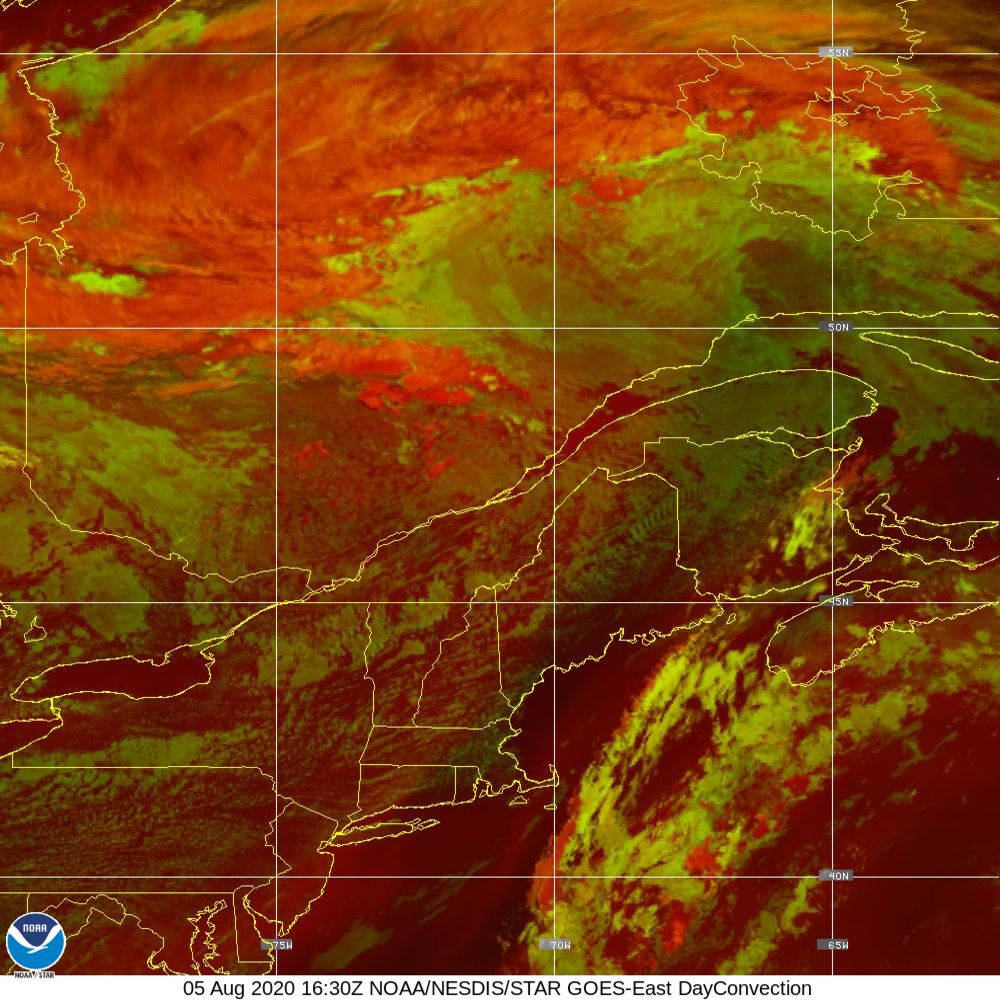 Day Convection - RGB used to identify areas of rapid intensification - 05 Aug 2020 - 1630 UTC