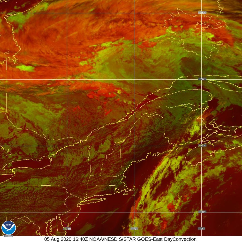 Day Convection - RGB used to identify areas of rapid intensification - 05 Aug 2020 - 1640 UTC