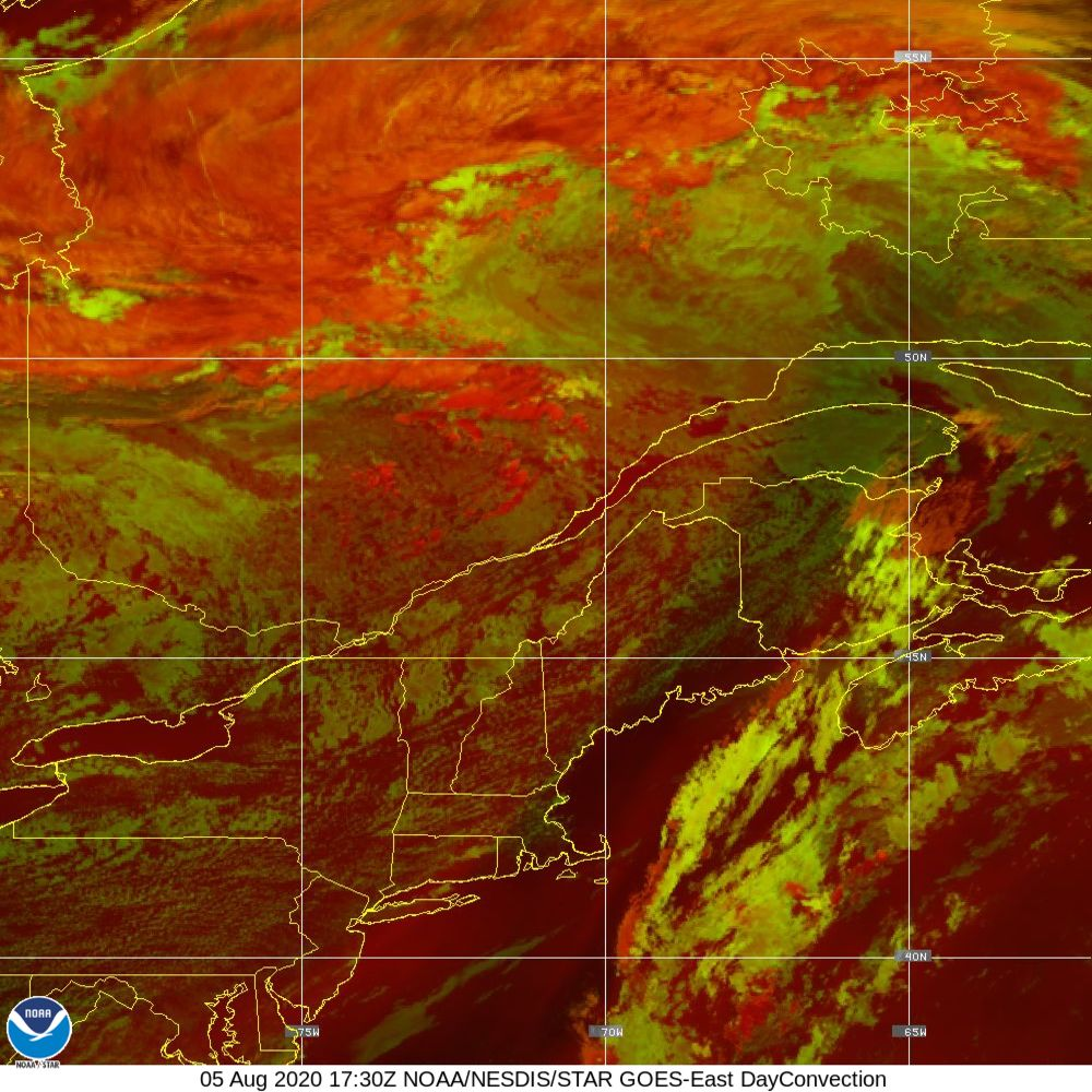 Day Convection - RGB used to identify areas of rapid intensification - 05 Aug 2020 - 1730 UTC