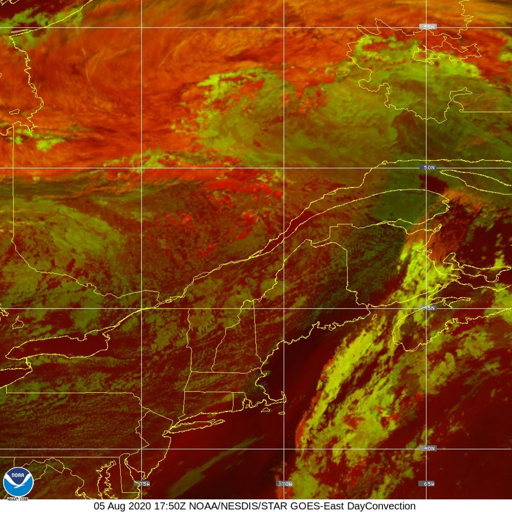 Day Convection - RGB used to identify areas of rapid intensification - 05 Aug 2020 - 1750 UTC