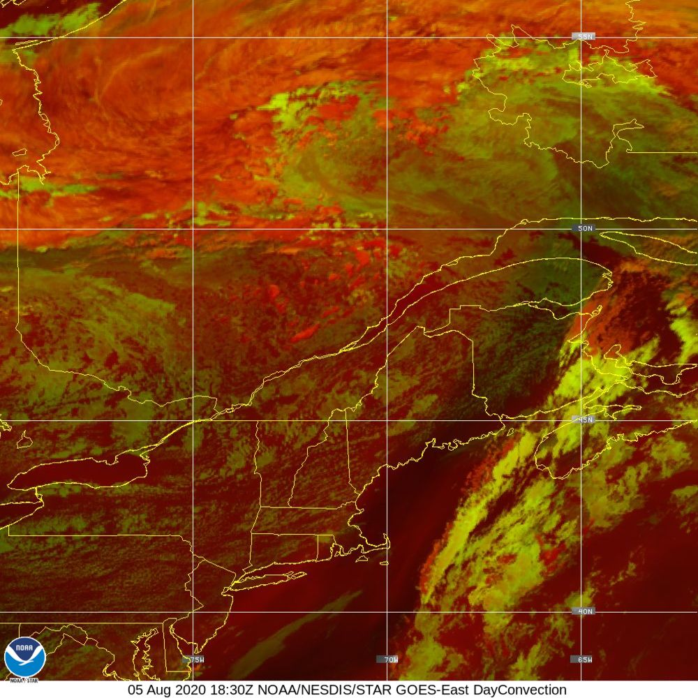 Day Convection - RGB used to identify areas of rapid intensification - 05 Aug 2020 - 1830 UTC