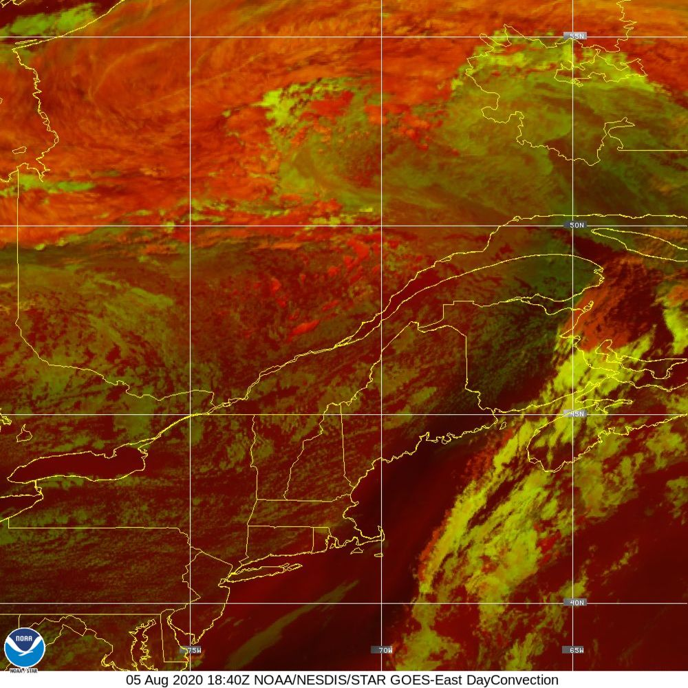 Day Convection - RGB used to identify areas of rapid intensification - 05 Aug 2020 - 1840 UTC