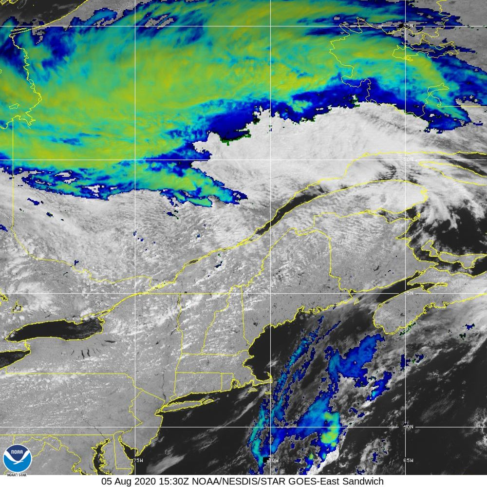 Sandwich - Multi-spectral blend combines IR band 13 with visual band 3 - 05 Aug 2020 - 1530 UTC