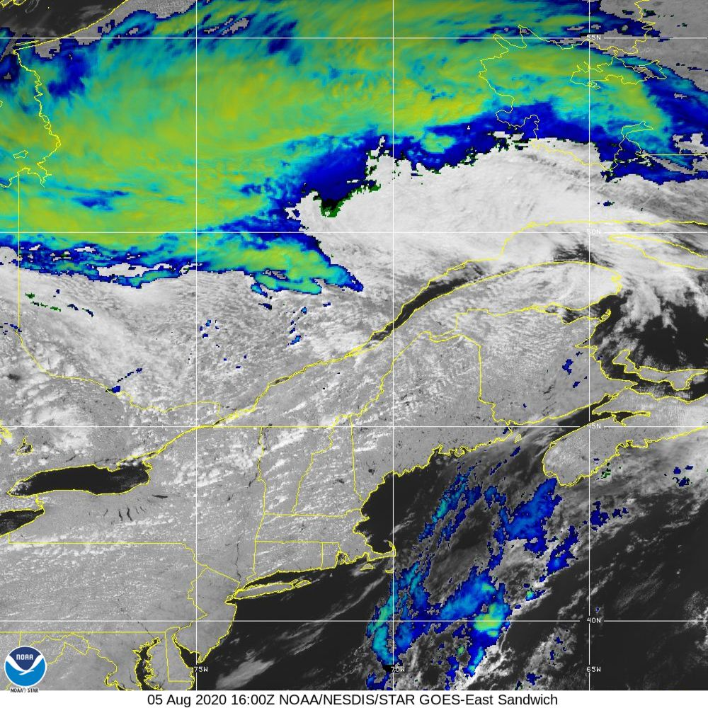 Sandwich - Multi-spectral blend combines IR band 13 with visual band 3 - 05 Aug 2020 - 1600 UTC