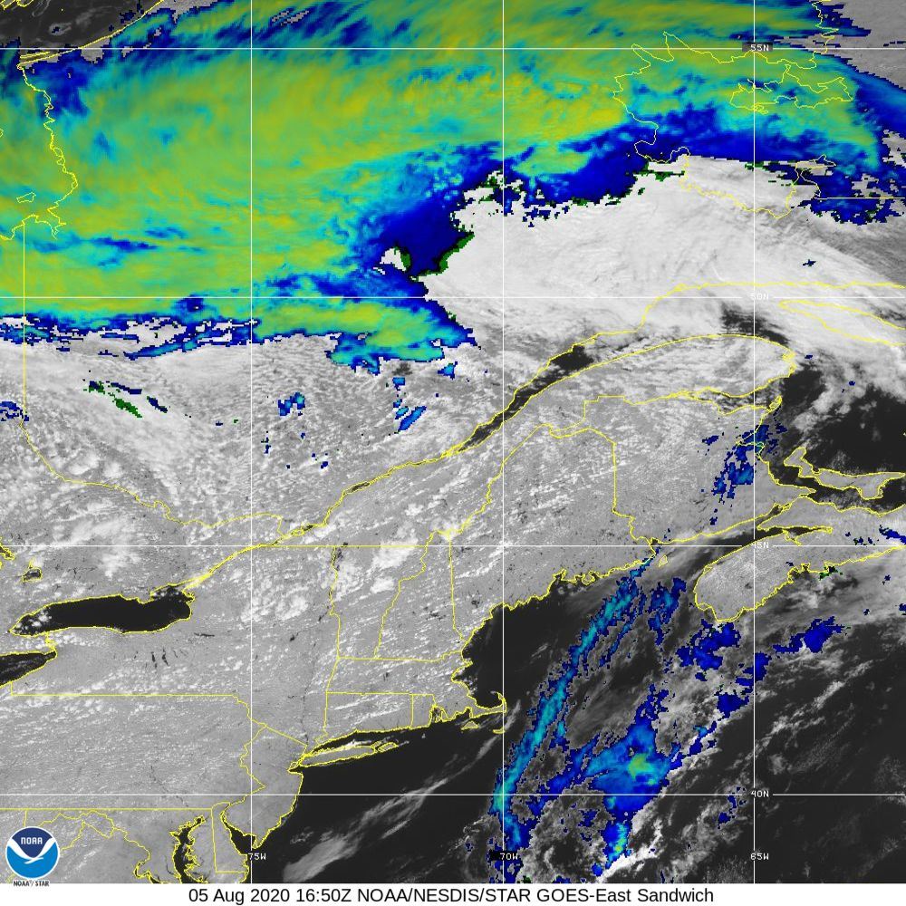 Sandwich - Multi-spectral blend combines IR band 13 with visual band 3 - 05 Aug 2020 - 1650 UTC