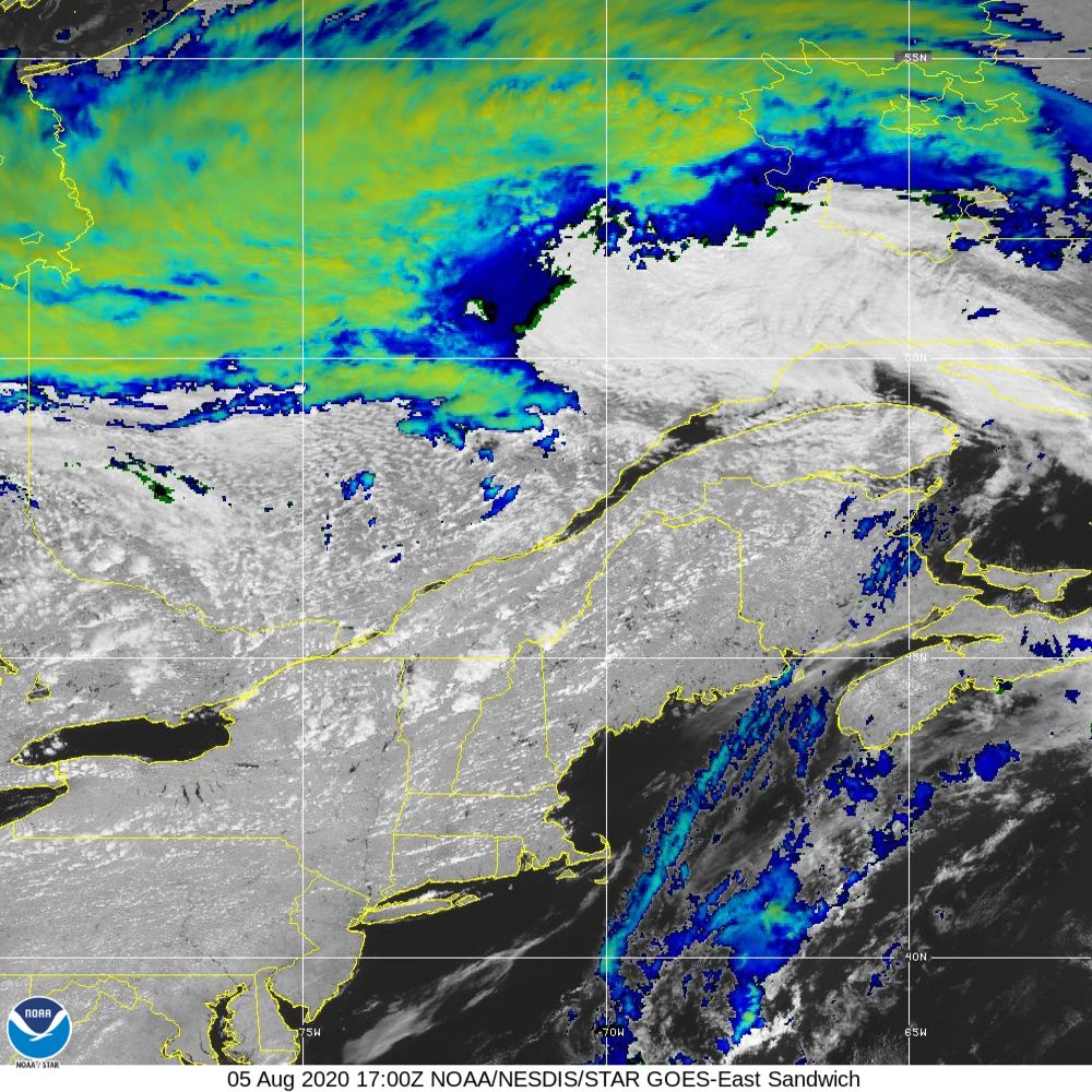 Sandwich - Multi-spectral blend combines IR band 13 with visual band 3 - 05 Aug 2020 - 1700 UTC