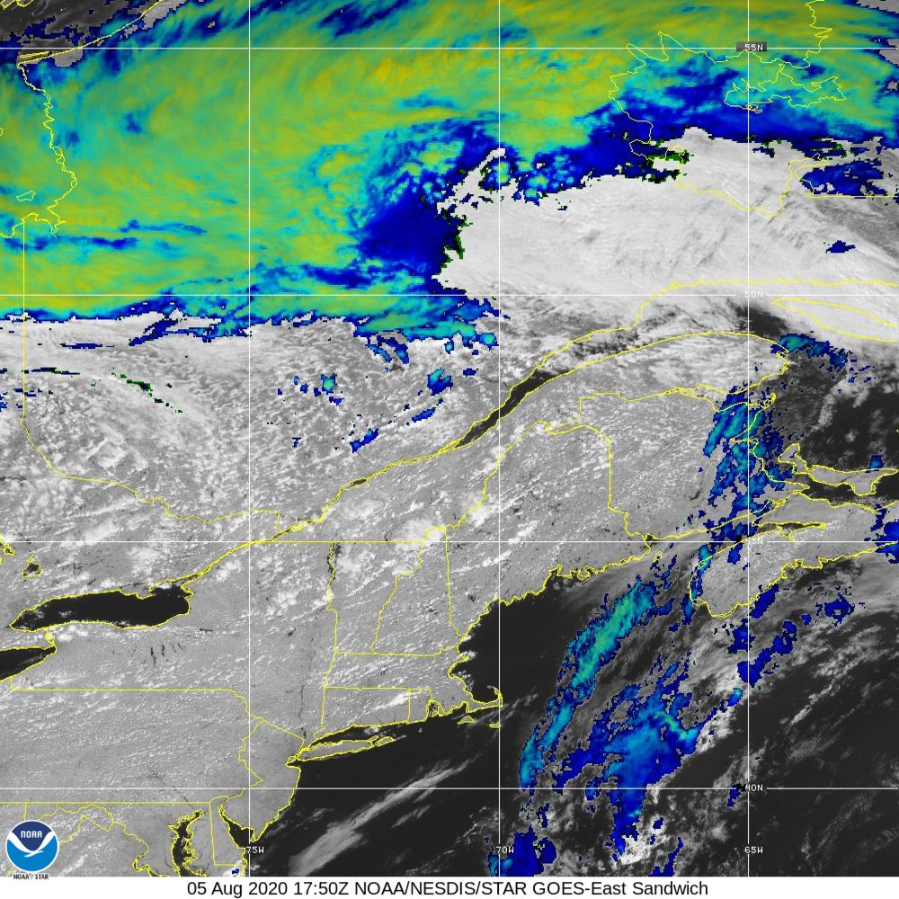 Sandwich - Multi-spectral blend combines IR band 13 with visual band 3 - 05 Aug 2020 - 1750 UTC