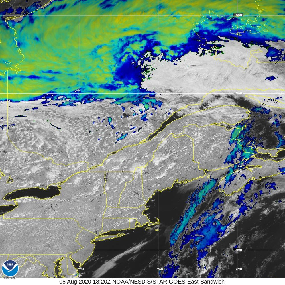 Sandwich - Multi-spectral blend combines IR band 13 with visual band 3 - 05 Aug 2020 - 1820 UTC