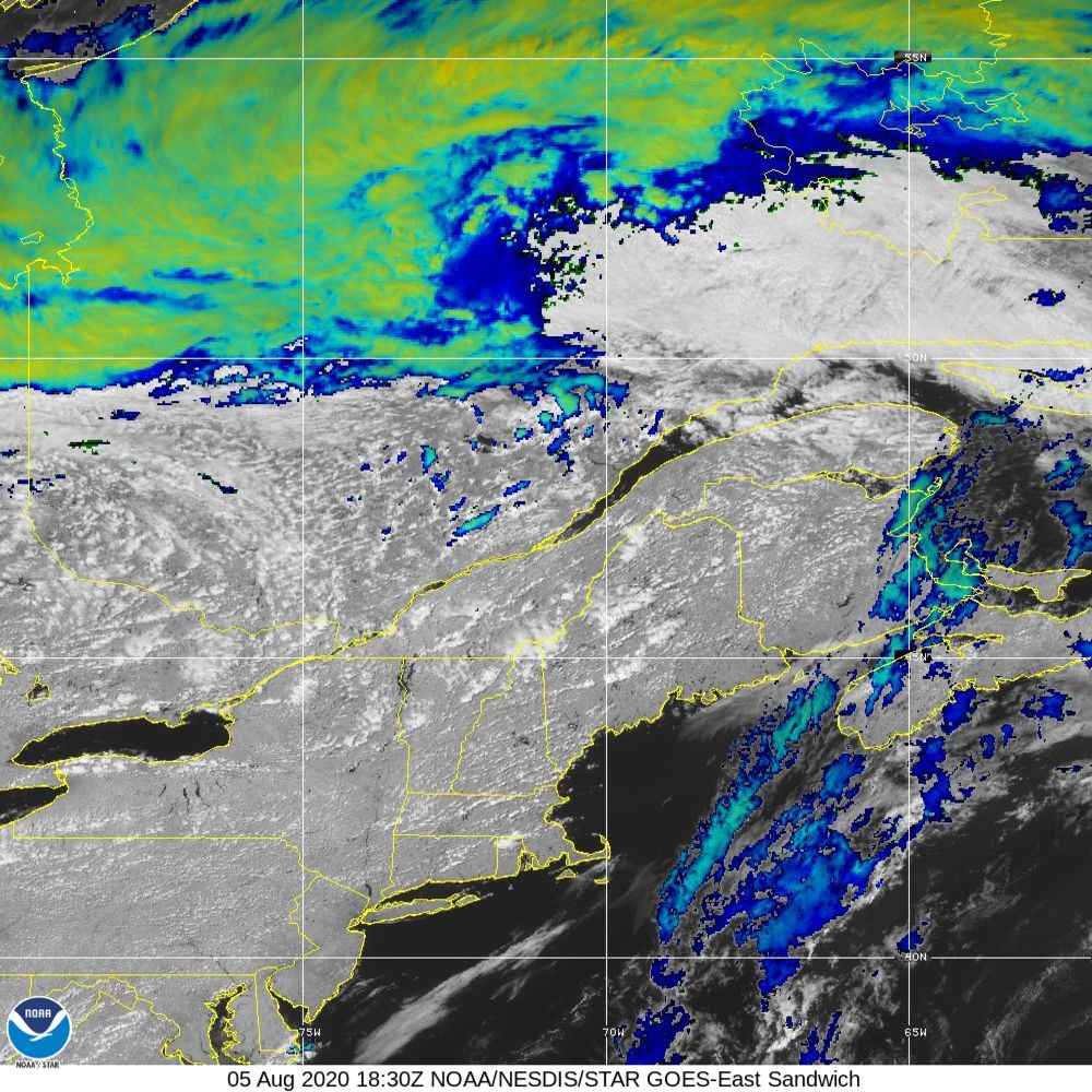 Sandwich - Multi-spectral blend combines IR band 13 with visual band 3 - 05 Aug 2020 - 1830 UTC