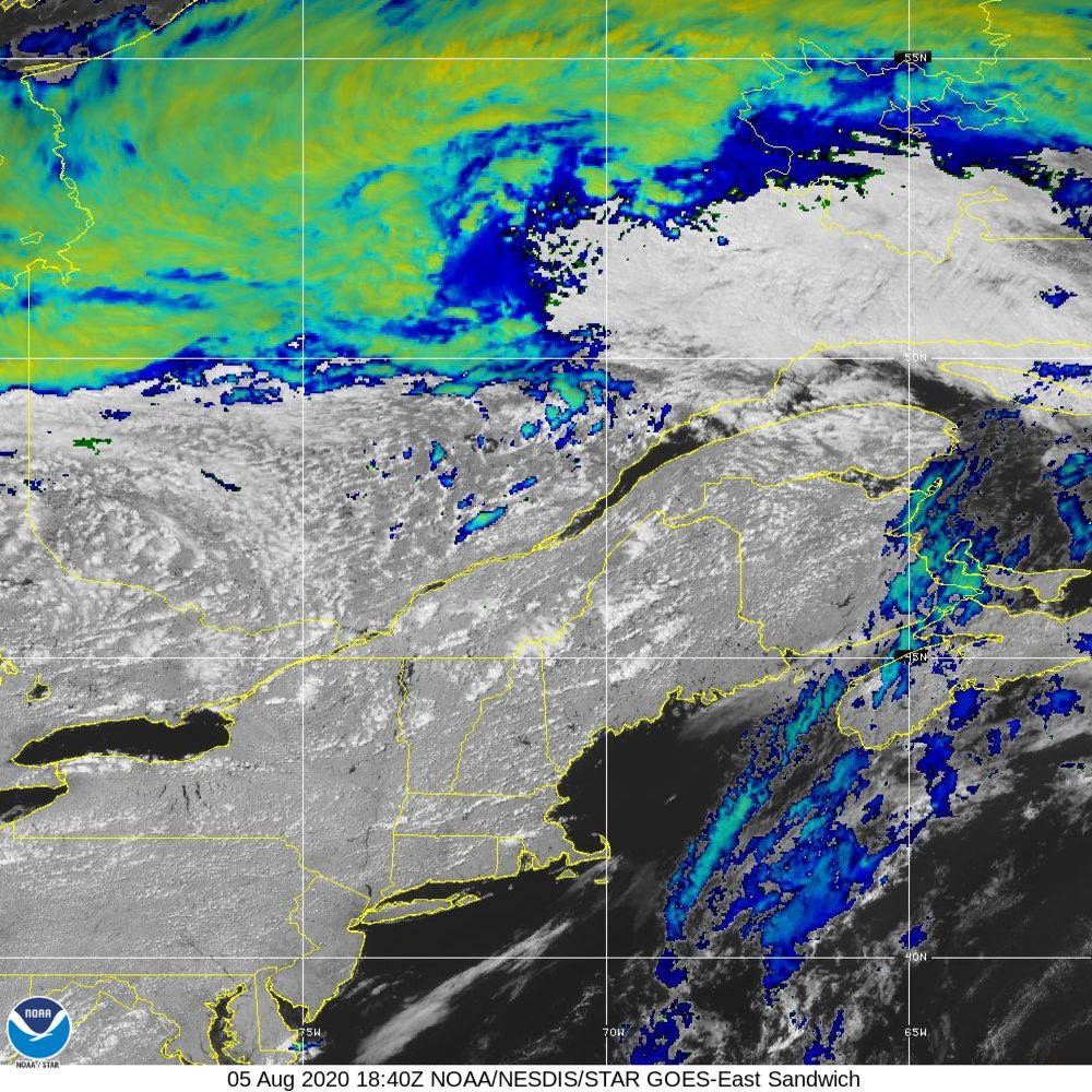 Sandwich - Multi-spectral blend combines IR band 13 with visual band 3 - 05 Aug 2020 - 1840 UTC