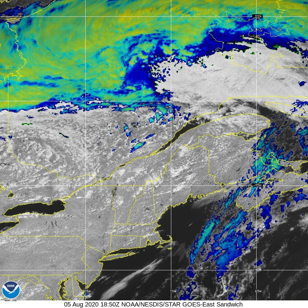 Sandwich - Multi-spectral blend combines IR band 13 with visual band 3 - 05 Aug 2020 - 1850 UTC