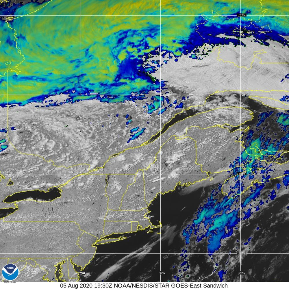 Sandwich - Multi-spectral blend combines IR band 13 with visual band 3 - 05 Aug 2020 - 1930 UTC
