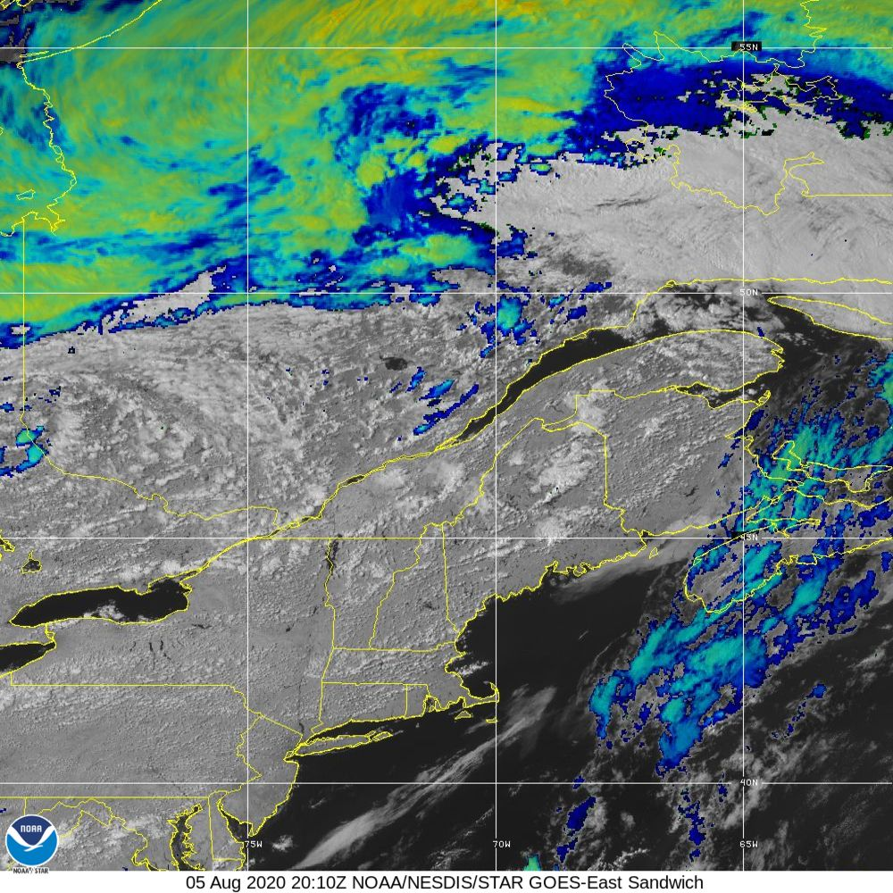 Sandwich - Multi-spectral blend combines IR band 13 with visual band 3 - 05 Aug 2020 - 2010 UTC