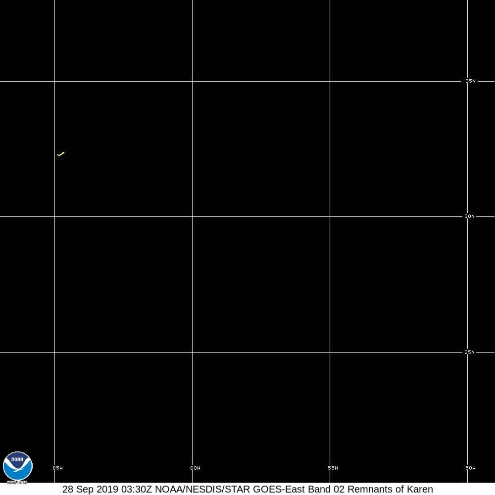 Band 2 - 0.64 µm - Red - Visible - 28 Sep 2019 - 0330 UTC