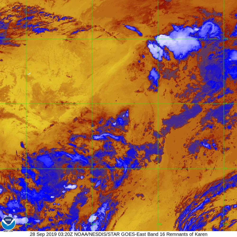 Band 16 - 13.3 µm - CO₂ Longwave - IR - 28 Sep 2019 - 0320 UTC