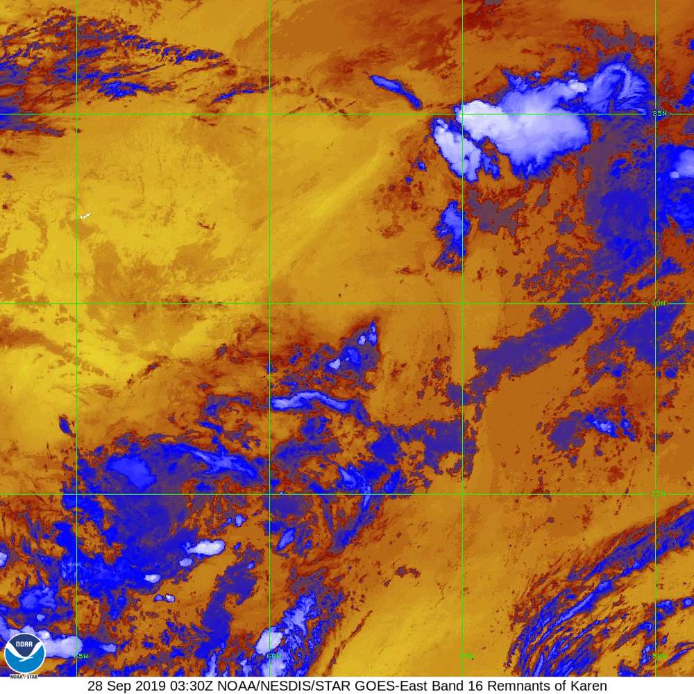 Band 16 - 13.3 µm - CO₂ Longwave - IR - 28 Sep 2019 - 0330 UTC