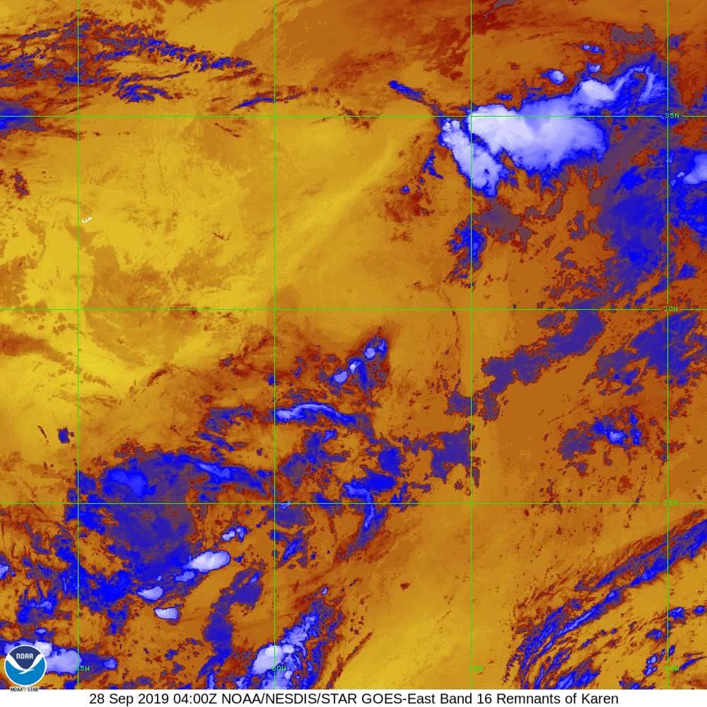 Band 16 - 13.3 µm - CO₂ Longwave - IR - 28 Sep 2019 - 0400 UTC
