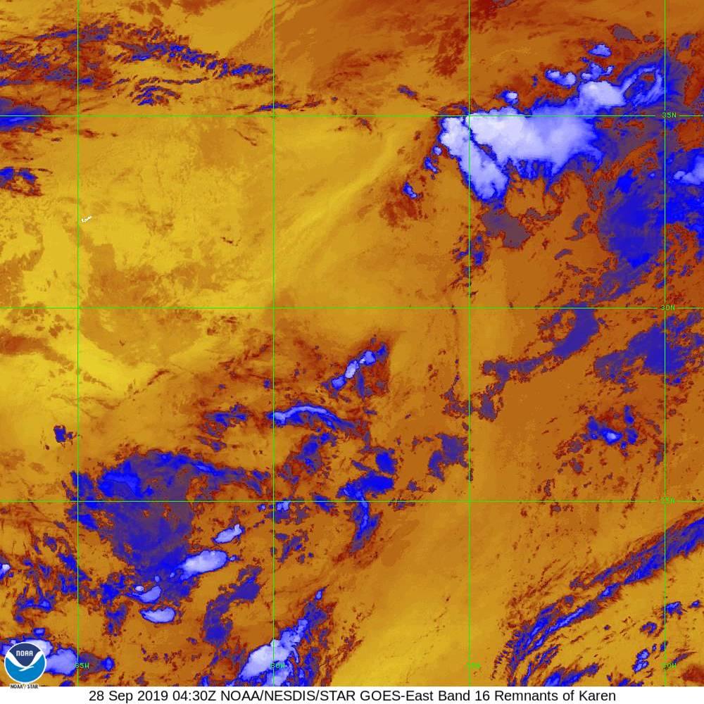Band 16 - 13.3 µm - CO₂ Longwave - IR - 28 Sep 2019 - 0430 UTC